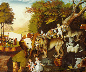 The Peaceable Kingdom, one of at least 62 renditions by Edward Hicks, circa 1820.