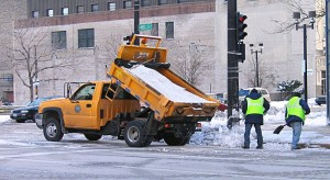 Keeping people safe on icy roads with just a pinch of salt. Photo Michael Pereckas 2006.