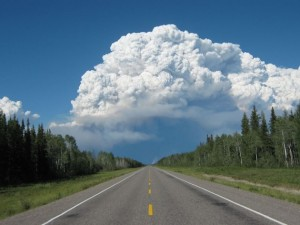 Cloud able to make its own weather, rising from the Birch Lake Complex Fires, NW Territories, Canada.  Smoke from these fires covered Minnesota in July 2014.  Photo Mike Gravel (from P. Huttner's Updraft Blog)