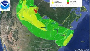 Smoke from the Fort McMurray fire covered Minnesota and points east in early May, 2016.  Image from NOAA.