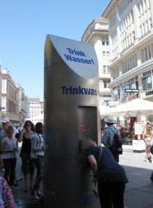 One of hundreds of public drinking fountains, fed by alpine glacial meltwater, slaking the thirst of Vienna's citizenry and visitors.  Photo P. Armstrong.