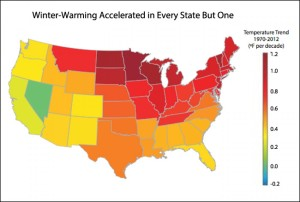 Just the facts, ma'am...winter temperatures are rising fastest in a region centered on Minnesota, says the US EPA.
