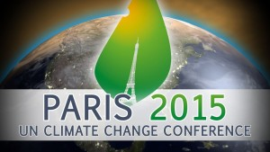 A clever graphic designer slipped the iconic tower into a leaf shape as the logo for the 2015 UN Climate Change Conference in Paris.  It appears a leaf-eating insect has embellished the design, but what the divot means is unclear.