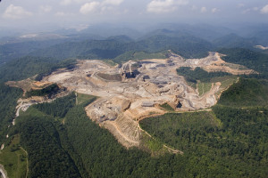 A mountaintop coal mine near Rawl, West Virginia.  Photo Kent Kessinger 2006