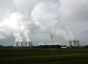 Water vapor and carbon dioxide aplenty at Drax Power Plant, Yorkshire, England, in 2007.  It has provided England with 7% of its energy needs, and is the biggest single emitter of CO2 in the country.  A CO2 capture scheme was investigated but deemed too costly without major government subsidies.  Photo by Paul Glazzard.