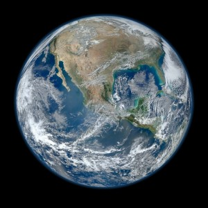 The iconic Blue Marble shot of North America by Norman Kuring, courtesy of NASA and its Suomi satellite.