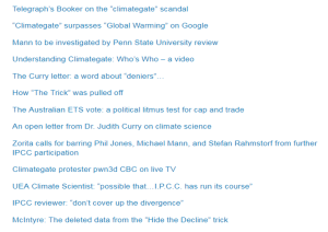 Screenshot of a climate change skeptic's website--with links to topics fanning the flames of false controversy.