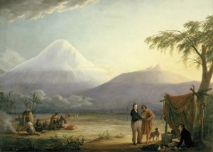 Alexander von Humboldt stands before Chimborazo, which he and Aimé Bonpland, seated, climbed in 1802--higher than any human for decades, and they didn't use special gear.  Painting by Friedrich Georg Weitsch 1806.