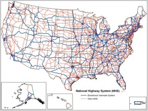 The US Highway System--interstates and federal roads--have got us covered, except for a few pesky white spots where people are few.  Courtesy US Dept. Transportation