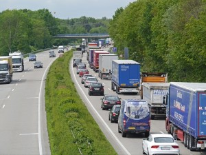 A crowded highway in Germany where all those well-ordered drivers mostly stay in the right lane, letting the cars pass on the left.  Photo-taker unknown.
