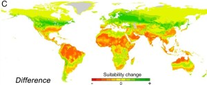 Dr. Xu and his colleagues predict a global shift in temperature zones to the north and south.  Green areas will become more comfortable for people to spend time outside year-round, and red areas less comfortable.  Source:  Xu et al. 2020 Proceedings of the National Academy of Sciences.